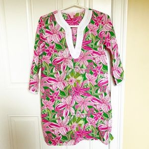 Lilly Pulitzer pink & green floral tunic coverup